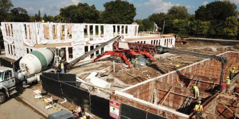 Park Terrace Row Homes Mt. Prospect pouring basement concrete